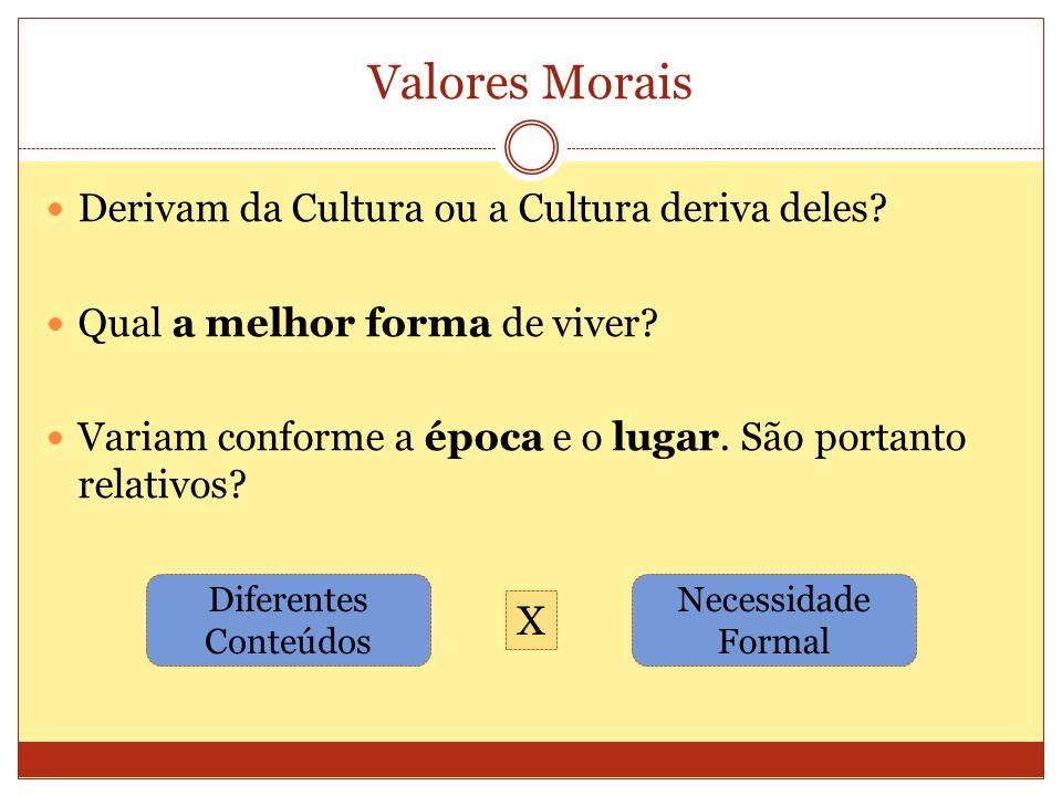 Valores Morais Derivam da Cultura ou a Cultura deriva deles? Qual a melhor forma de viver? Variam conforme a época e o lugar. São portanto relativos?