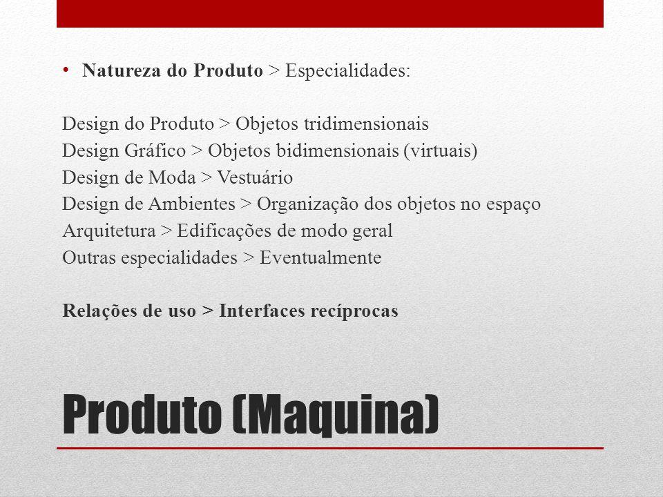 Produto (Maquina) Natureza do Produto > Especialidades: Design do Produto > Objetos tridimensionais Design Gráfico > Objetos bidimensionais (virtuais)