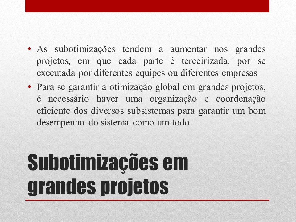 Subotimizações em grandes projetos As subotimizações tendem a aumentar nos grandes projetos, em que cada parte é terceirizada, por se executada por di