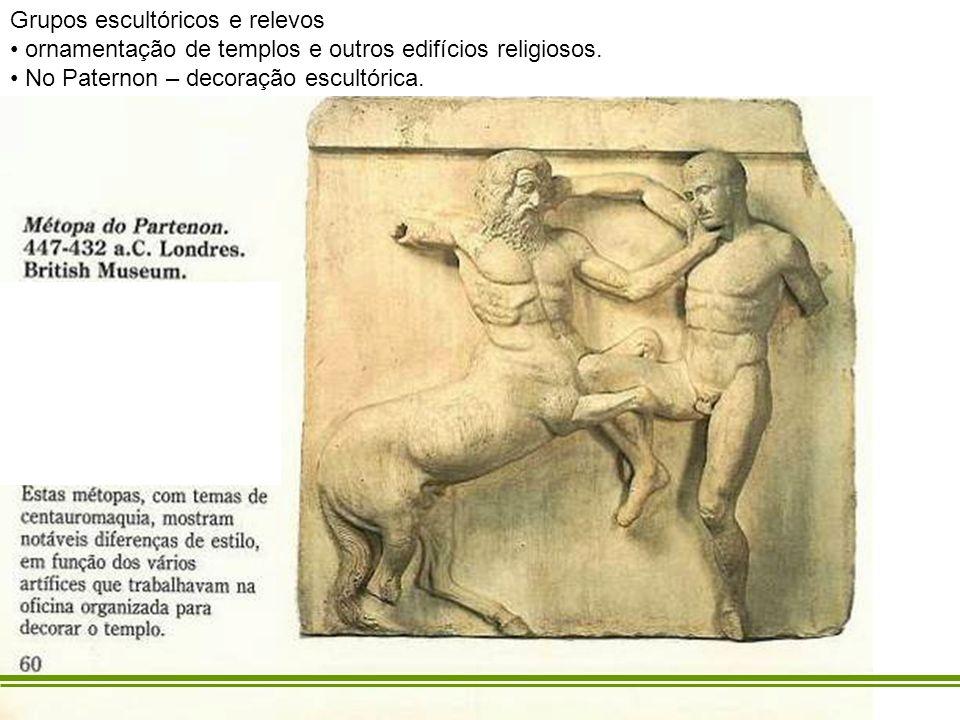 Grupos escultóricos e relevos ornamentação de templos e outros edifícios religiosos. No Paternon – decoração escultórica.