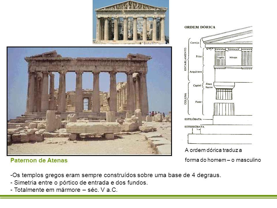 Paternon de Atenas -Os templos gregos eram sempre construídos sobre uma base de 4 degraus. - Simetria entre o pórtico de entrada e dos fundos. - Total