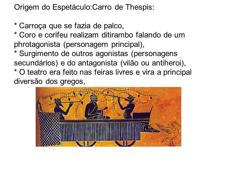 Origem do Espetáculo:Carro de Thespis: * Carroça que se fazia de palco, * Coro e corifeu realizam ditirambo falando de um phrotagonista (personagem pr