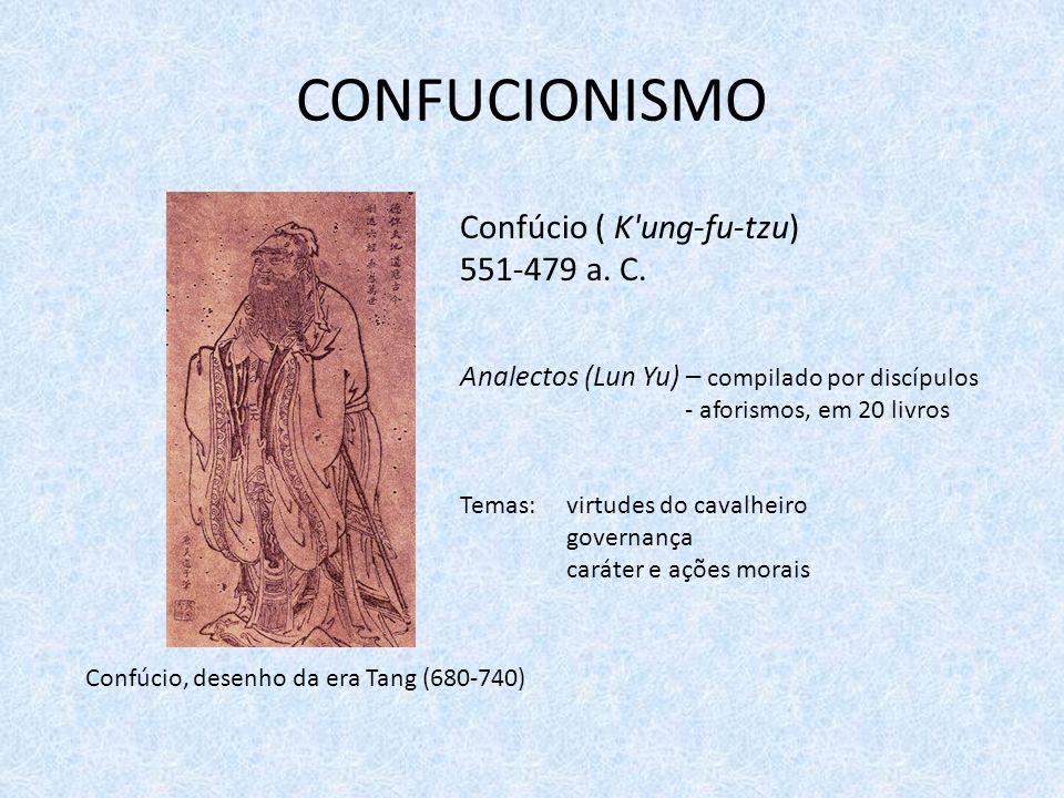 CONFUCIONISMO Confúcio ( K'ung-fu-tzu) 551-479 a. C. Analectos (Lun Yu) – compilado por discípulos - aforismos, em 20 livros Temas: virtudes do cavalh