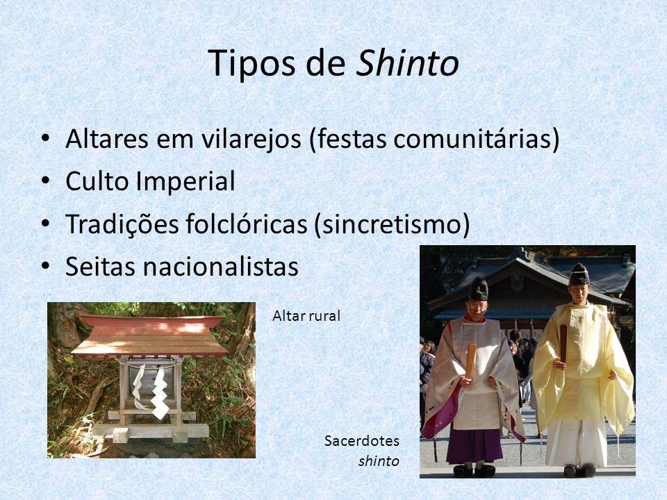 Tipos de Shinto Altares em vilarejos (festas comunitárias) Culto Imperial Tradições folclóricas (sincretismo) Seitas nacionalistas Altar rural Sacerdotes shinto