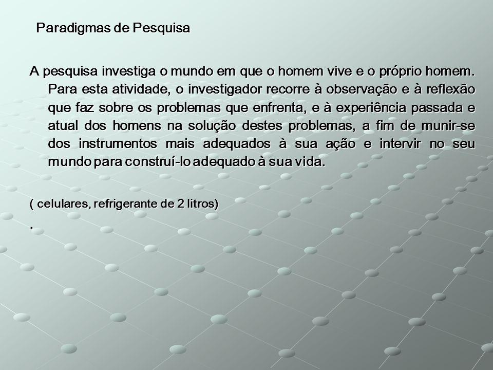 Paradigmas de Pesquisa Paradigmas de Pesquisa A pesquisa investiga o mundo em que o homem vive e o próprio homem. Para esta atividade, o investigador