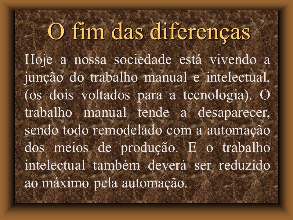 O fim das diferenças Hoje a nossa sociedade está vivendo a junção do trabalho manual e intelectual, (os dois voltados para a tecnologia). O trabalho m