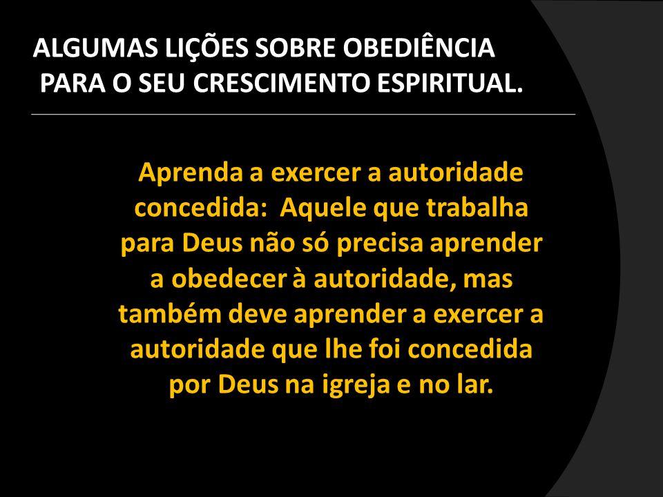Aprenda a exercer a autoridade concedida: Aquele que trabalha para Deus não só precisa aprender a obedecer à autoridade, mas também deve aprender a ex