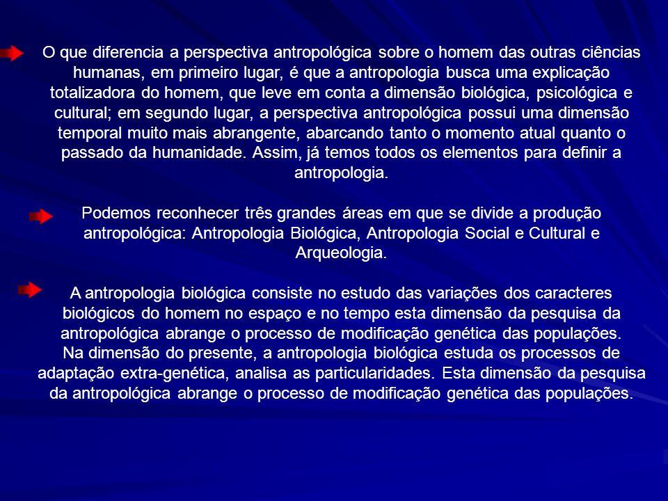 O que diferencia a perspectiva antropológica sobre o homem das outras ciências humanas, em primeiro lugar, é que a antropologia busca uma explicação t