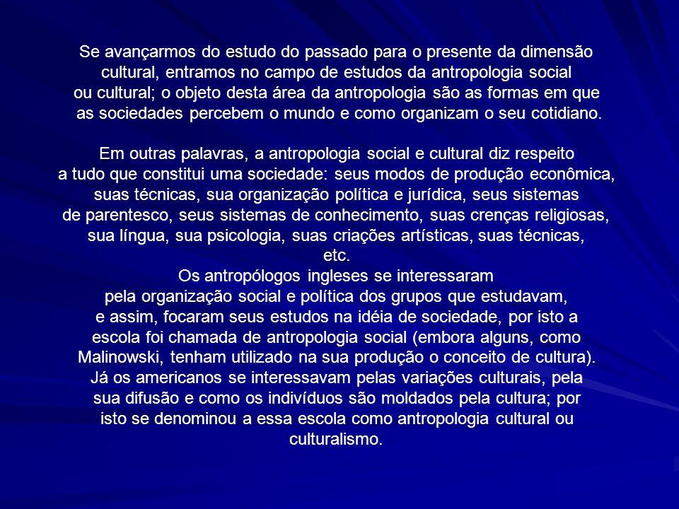 Se avançarmos do estudo do passado para o presente da dimensão cultural, entramos no campo de estudos da antropologia social ou cultural; o objeto des