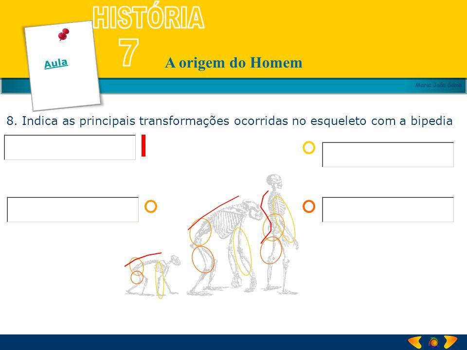 A origem do Homem Maria João Gama 8. Indica as principais transformações ocorridas no esqueleto com a bipedia Aula
