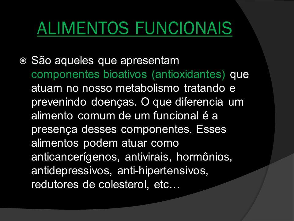ALIMENTOS FUNCIONAIS São aqueles que apresentam componentes bioativos (antioxidantes) que atuam no nosso metabolismo tratando e prevenindo doenças. O