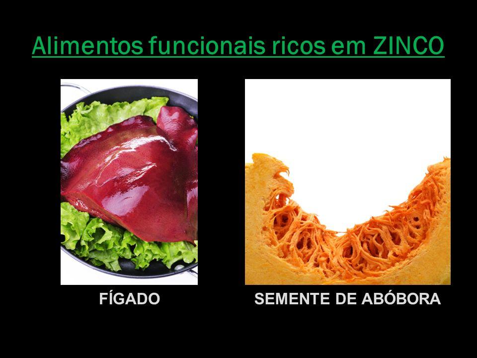 Alimentos funcionais ricos em ZINCO FÍGADOSEMENTE DE ABÓBORA