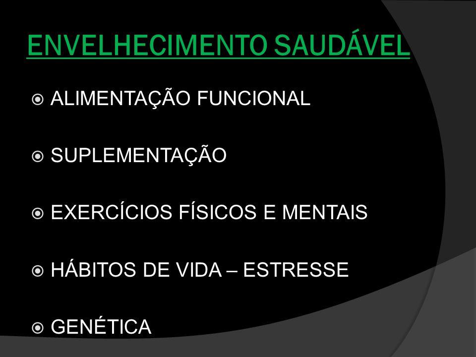 ENVELHECIMENTO SAUDÁVEL ALIMENTAÇÃO FUNCIONAL SUPLEMENTAÇÃO EXERCÍCIOS FÍSICOS E MENTAIS HÁBITOS DE VIDA – ESTRESSE GENÉTICA