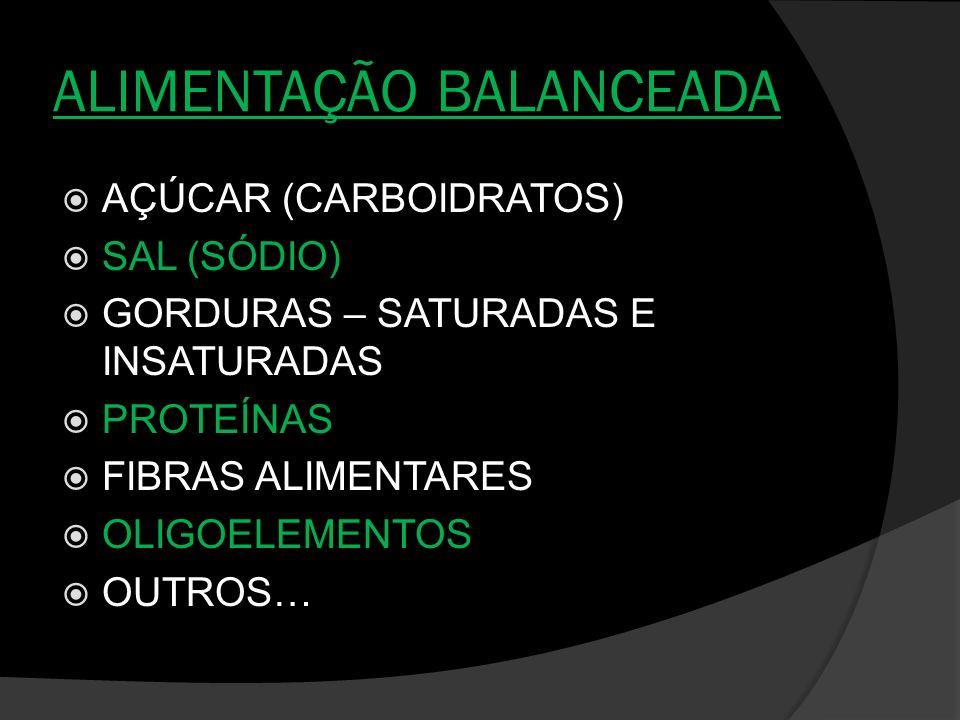 ALIMENTAÇÃO BALANCEADA AÇÚCAR (CARBOIDRATOS) SAL (SÓDIO) GORDURAS – SATURADAS E INSATURADAS PROTEÍNAS FIBRAS ALIMENTARES OLIGOELEMENTOS OUTROS…
