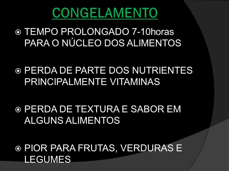 CONGELAMENTO TEMPO PROLONGADO 7-10horas PARA O NÚCLEO DOS ALIMENTOS PERDA DE PARTE DOS NUTRIENTES PRINCIPALMENTE VITAMINAS PERDA DE TEXTURA E SABOR EM