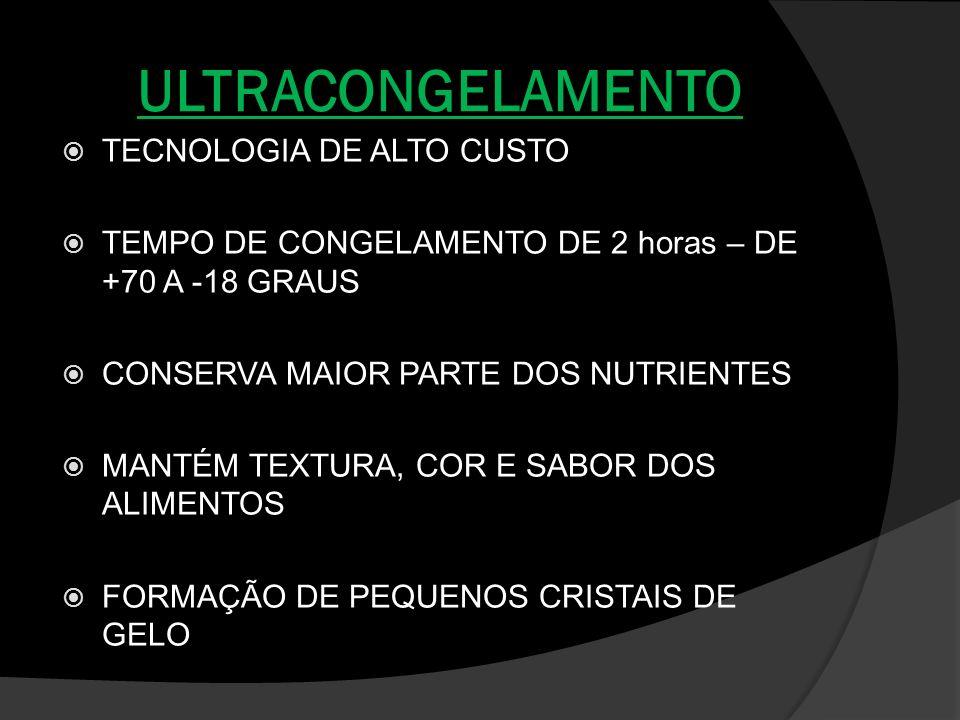ULTRACONGELAMENTO TECNOLOGIA DE ALTO CUSTO TEMPO DE CONGELAMENTO DE 2 horas – DE +70 A -18 GRAUS CONSERVA MAIOR PARTE DOS NUTRIENTES MANTÉM TEXTURA, C