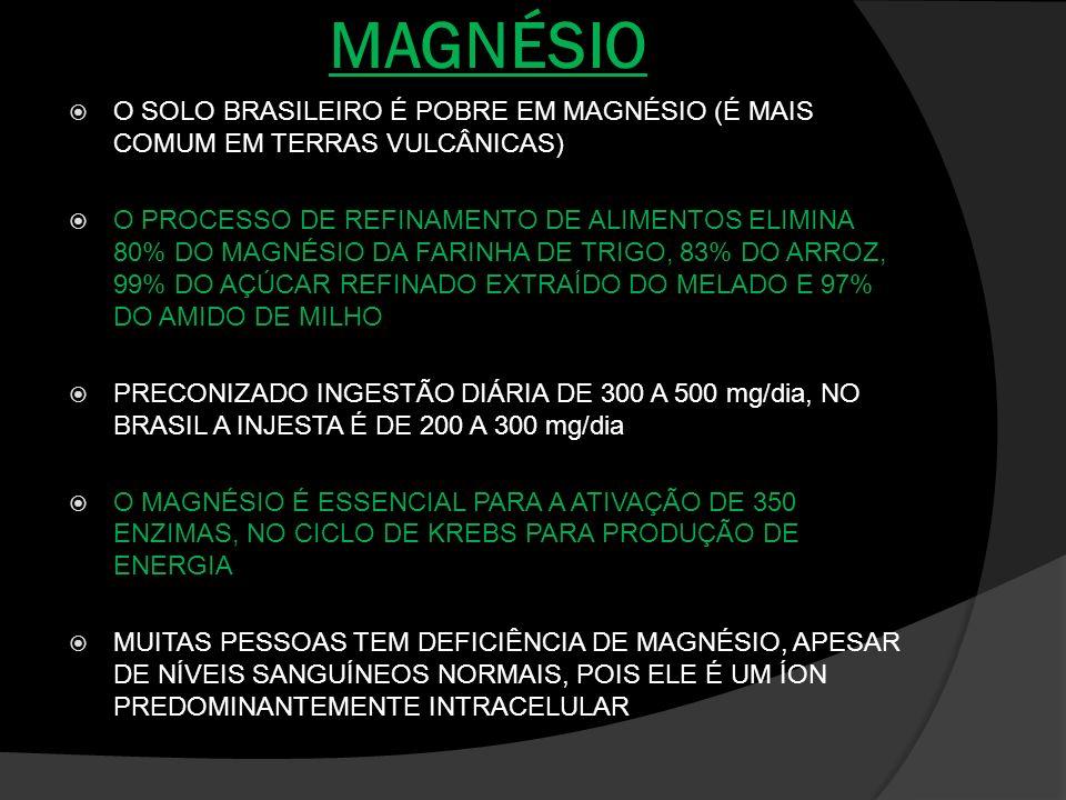MAGNÉSIO O SOLO BRASILEIRO É POBRE EM MAGNÉSIO (É MAIS COMUM EM TERRAS VULCÂNICAS) O PROCESSO DE REFINAMENTO DE ALIMENTOS ELIMINA 80% DO MAGNÉSIO DA F