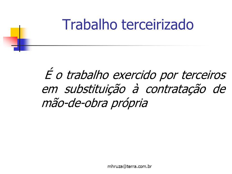 mhruza@terra.com.br Trabalho terceirizado É o trabalho exercido por terceiros em substituição à contratação de mão-de-obra própria