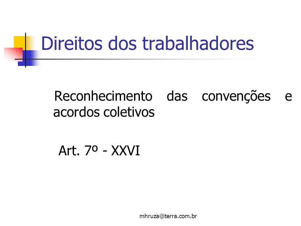 mhruza@terra.com.br Direitos dos trabalhadores Reconhecimento das convenções e acordos coletivos Art. 7º - XXVI