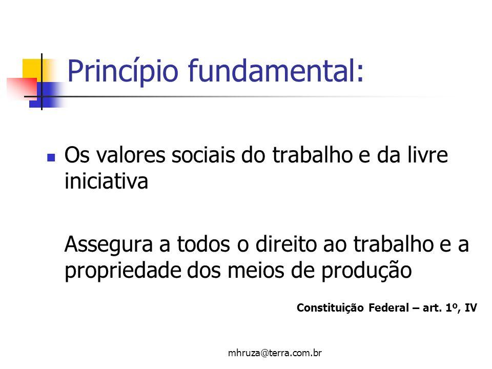 mhruza@terra.com.br Princípio fundamental: Os valores sociais do trabalho e da livre iniciativa Assegura a todos o direito ao trabalho e a propriedade