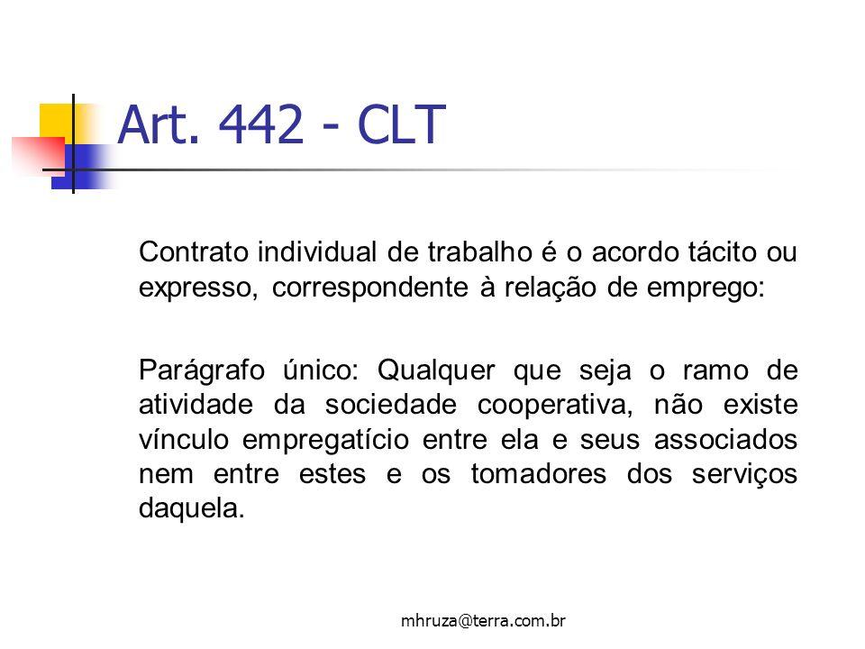 mhruza@terra.com.br Art. 442 - CLT Contrato individual de trabalho é o acordo tácito ou expresso, correspondente à relação de emprego: Parágrafo único