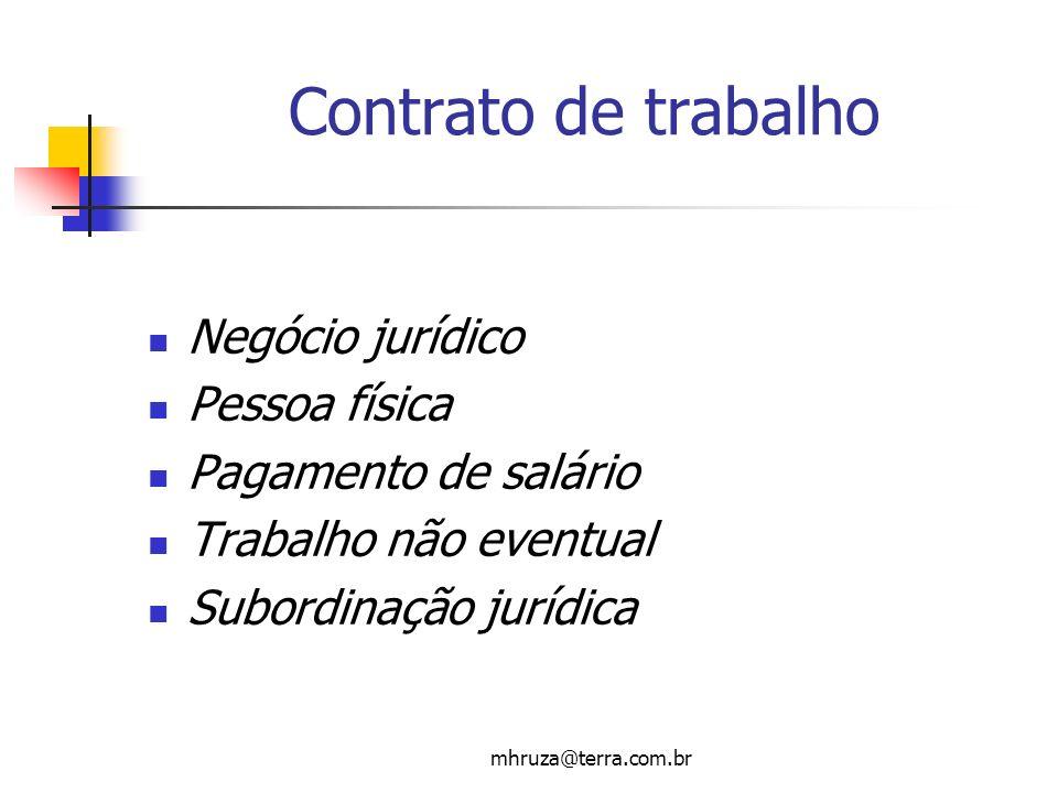 mhruza@terra.com.br Contrato de trabalho Negócio jurídico Pessoa física Pagamento de salário Trabalho não eventual Subordinação jurídica