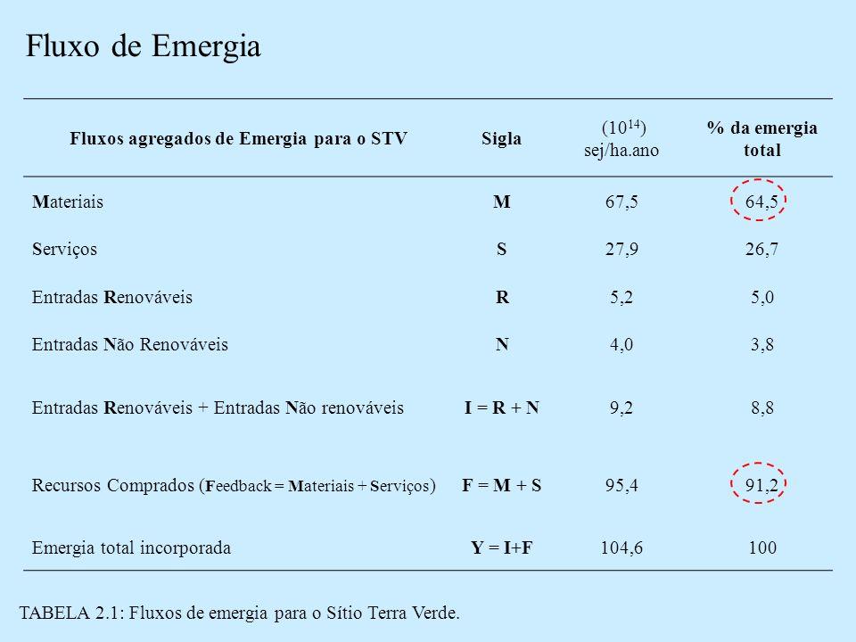 Fluxo de Emergia Fluxos agregados de Emergia para o STVSigla (10 14 ) sej/ha.ano % da emergia total MateriaisM67,564,5 ServiçosS27,926,7 Entradas RenováveisR5,25,0 Entradas Não RenováveisN4,03,8 Entradas Renováveis + Entradas Não renováveisI = R + N9,28,8 Recursos Comprados ( Feedback = Materiais + Serviços )F = M + S95,491,2 Emergia total incorporadaY = I+F104,6100 TABELA 2.1: Fluxos de emergia para o Sítio Terra Verde.