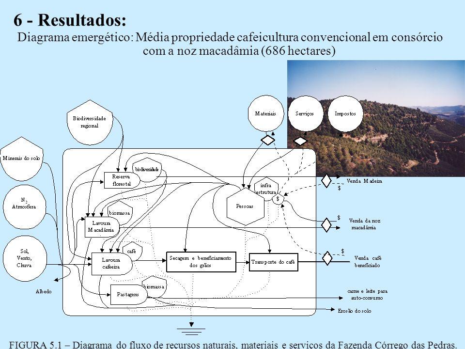 6 - Resultados: FIGURA 5.1 – Diagrama do fluxo de recursos naturais, materiais e serviços da Fazenda Córrego das Pedras.