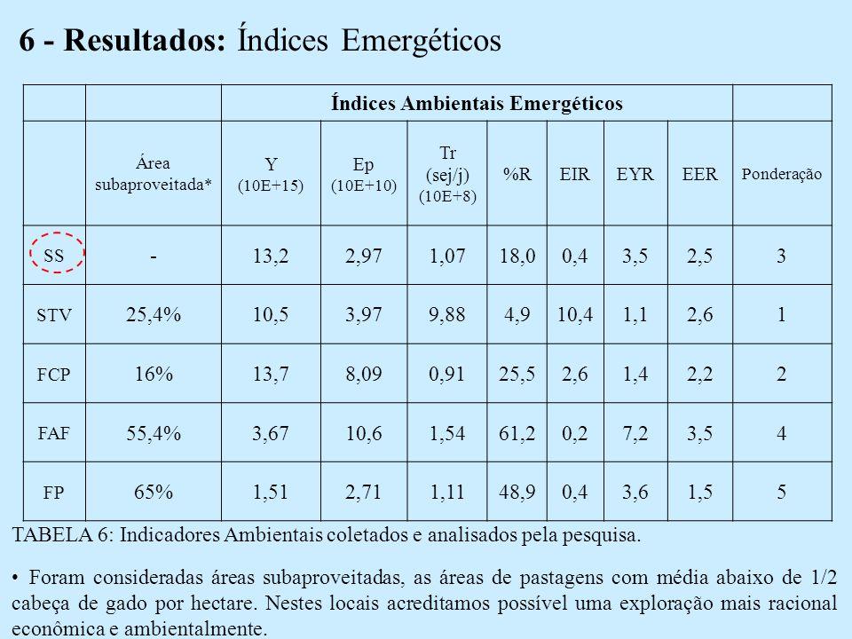 6 - Resultados: Índices Emergéticos Índices Ambientais Emergéticos Área subaproveitada * Y (10E+15) Ep (10E+10) Tr (sej/j) (10E+8) %REIREYREER Ponderação SS -13,22,971,0718,00,43,52,53 STV 25,4%10,53,979,884,910,41,12,61 FCP 16%13,78,090,9125,52,61,42,22 FAF 55,4%3,6710,61,5461,20,27,23,54 FP 65%1,512,711,1148,90,43,61,55 TABELA 6: Indicadores Ambientais coletados e analisados pela pesquisa.