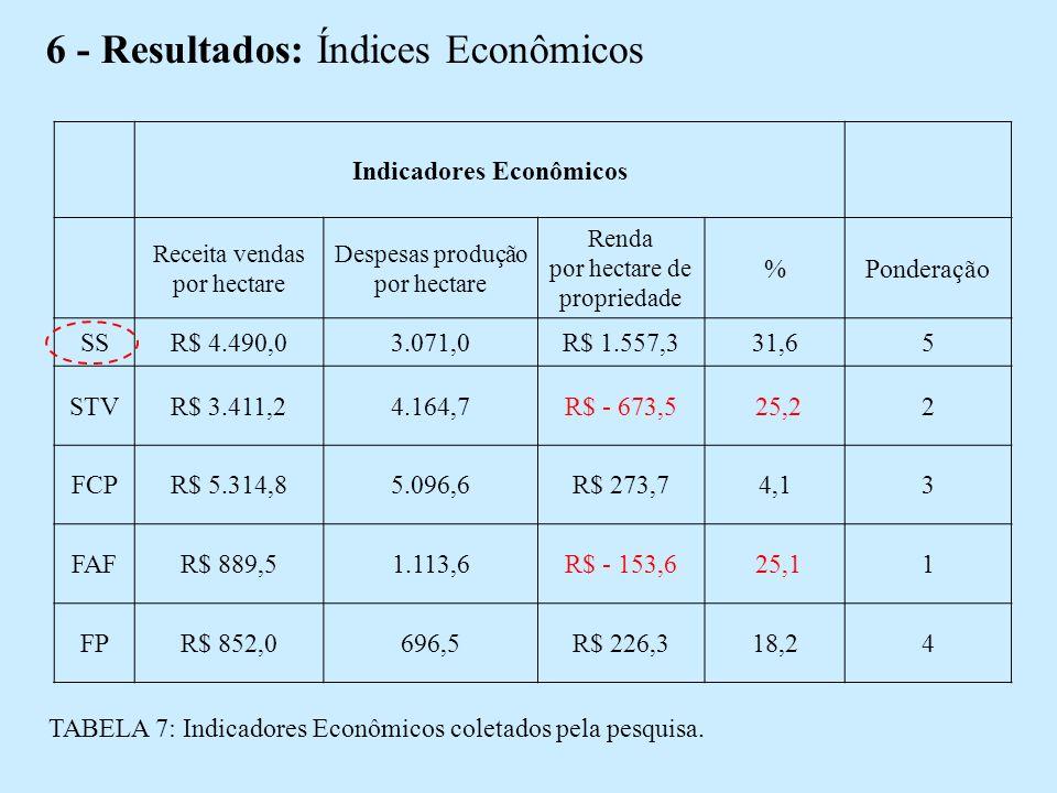 6 - Resultados: Índices Econômicos Indicadores Econômicos Receita vendas por hectare Despesas produção por hectare Renda por hectare de propriedade %Ponderação SSR$ 4.490,03.071,0R$ 1.557,331,65 STVR$ 3.411,24.164,7R$ - 673,5 25,22 FCPR$ 5.314,85.096,6R$ 273,74,13 FAFR$ 889,51.113,6R$ - 153,6 25,11 FPR$ 852,0696,5R$ 226,318,24 TABELA 7: Indicadores Econômicos coletados pela pesquisa.