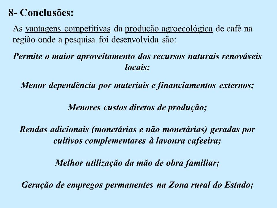 8- Conclusões: As vantagens competitivas da produção agroecológica de café na região onde a pesquisa foi desenvolvida são: Permite o maior aproveitamento dos recursos naturais renováveis locais; Menor dependência por materiais e financiamentos externos; Menores custos diretos de produção; Rendas adicionais (monetárias e não monetárias) geradas por cultivos complementares à lavoura cafeeira; Melhor utilização da mão de obra familiar; Geração de empregos permanentes na Zona rural do Estado;