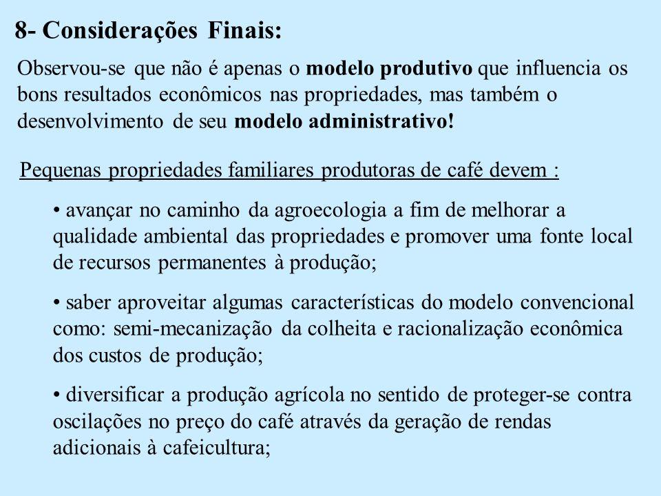 8- Considerações Finais: Observou-se que não é apenas o modelo produtivo que influencia os bons resultados econômicos nas propriedades, mas também o desenvolvimento de seu modelo administrativo.