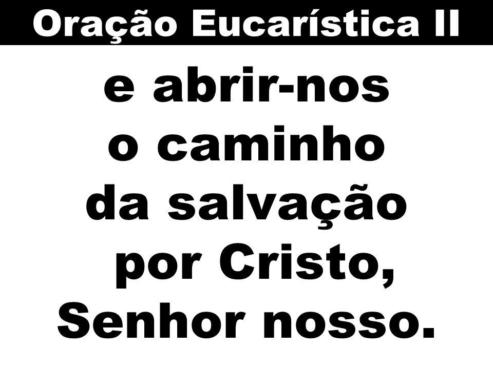 e abrir-nos o caminho da salvação por Cristo, Senhor nosso. Oração Eucarística II