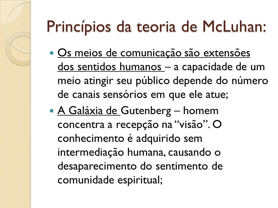 Princípios da teoria de McLuhan: Os meios de comunicação são extensões dos sentidos humanos – a capacidade de um meio atingir seu público depende do número de canais sensórios em que ele atue; A Galáxia de Gutenberg – homem concentra a recepção na visão.