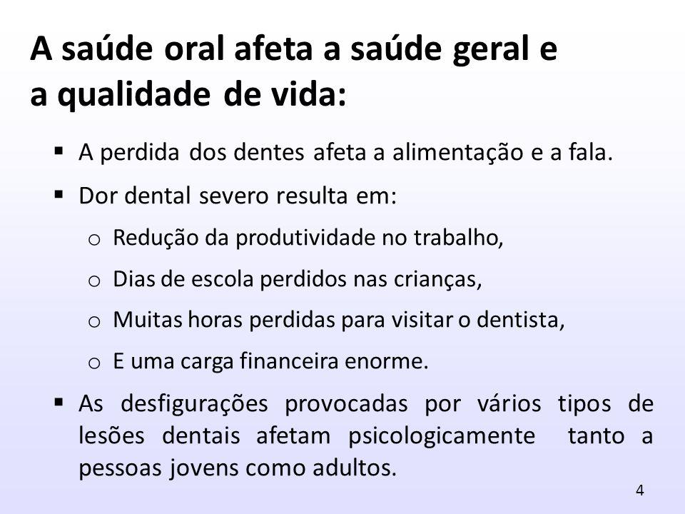 A saúde oral afeta a saúde geral e a qualidade de vida: A perdida dos dentes afeta a alimentação e a fala. Dor dental severo resulta em: o Redução da