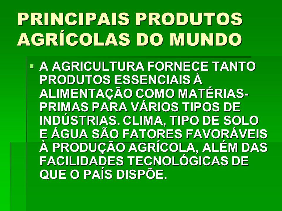 PRINCIPAIS PRODUTOS AGRÍCOLAS DO MUNDO A AGRICULTURA FORNECE TANTO PRODUTOS ESSENCIAIS À ALIMENTAÇÃO COMO MATÉRIAS- PRIMAS PARA VÁRIOS TIPOS DE INDÚSTRIAS.