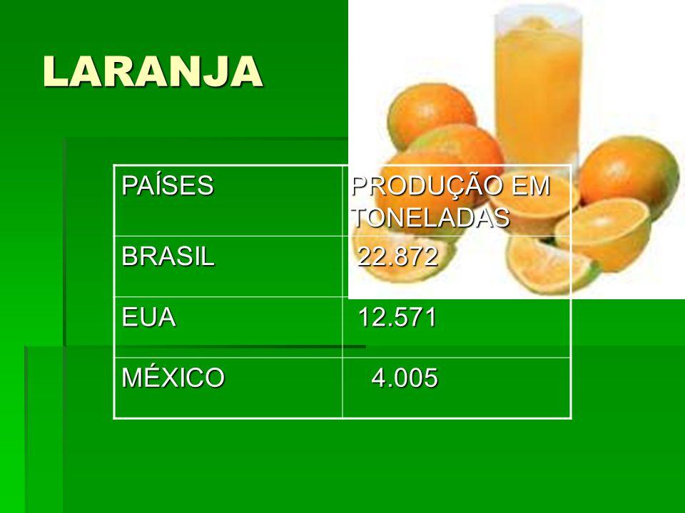 LARANJAPAÍSES PRODUÇÃO EM TONELADAS BRASIL 22.872 22.872 EUA 12.571 12.571 MÉXICO 4.005 4.005