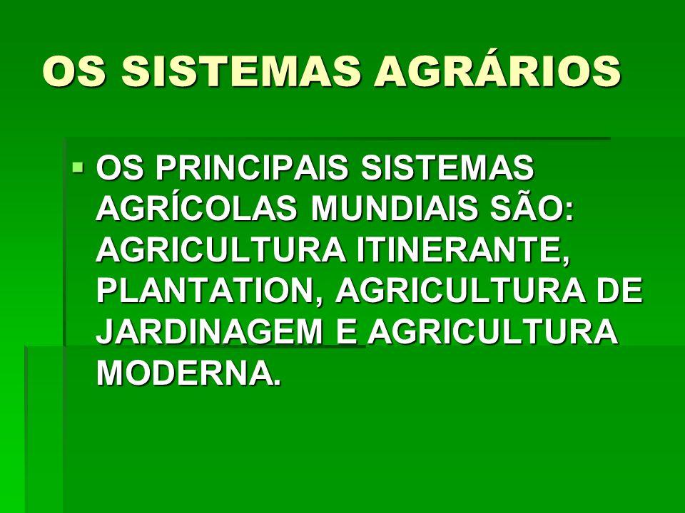 OS SISTEMAS AGRÁRIOS OS PRINCIPAIS SISTEMAS AGRÍCOLAS MUNDIAIS SÃO: AGRICULTURA ITINERANTE, PLANTATION, AGRICULTURA DE JARDINAGEM E AGRICULTURA MODERNA.