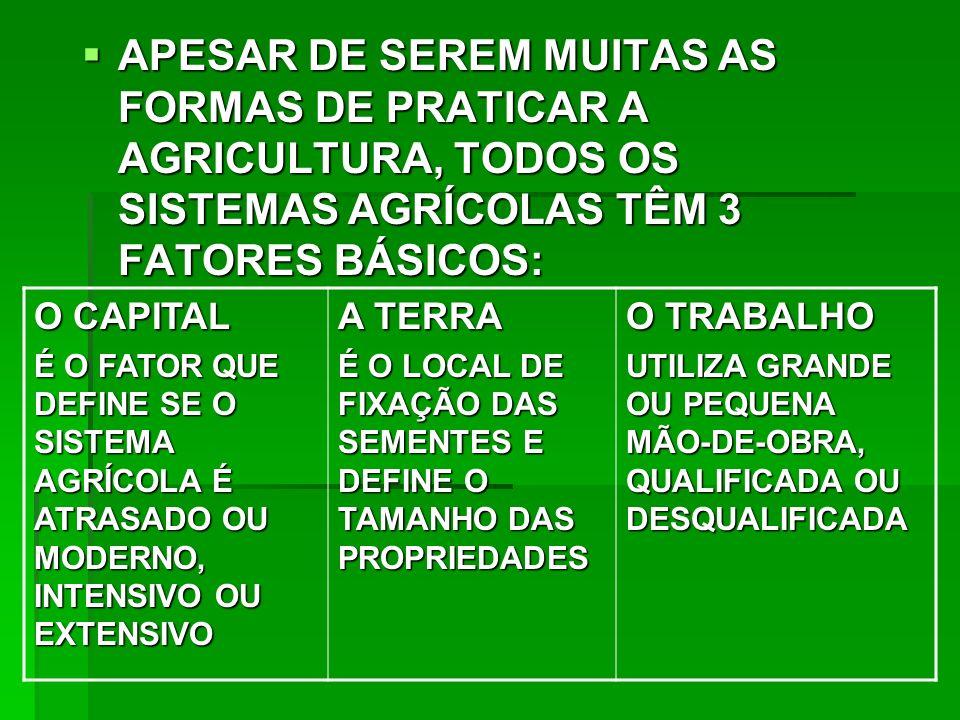 APESAR DE SEREM MUITAS AS FORMAS DE PRATICAR A AGRICULTURA, TODOS OS SISTEMAS AGRÍCOLAS TÊM 3 FATORES BÁSICOS: APESAR DE SEREM MUITAS AS FORMAS DE PRATICAR A AGRICULTURA, TODOS OS SISTEMAS AGRÍCOLAS TÊM 3 FATORES BÁSICOS: O CAPITAL É O FATOR QUE DEFINE SE O SISTEMA AGRÍCOLA É ATRASADO OU MODERNO, INTENSIVO OU EXTENSIVO A TERRA É O LOCAL DE FIXAÇÃO DAS SEMENTES E DEFINE O TAMANHO DAS PROPRIEDADES O TRABALHO UTILIZA GRANDE OU PEQUENA MÃO-DE-OBRA, QUALIFICADA OU DESQUALIFICADA