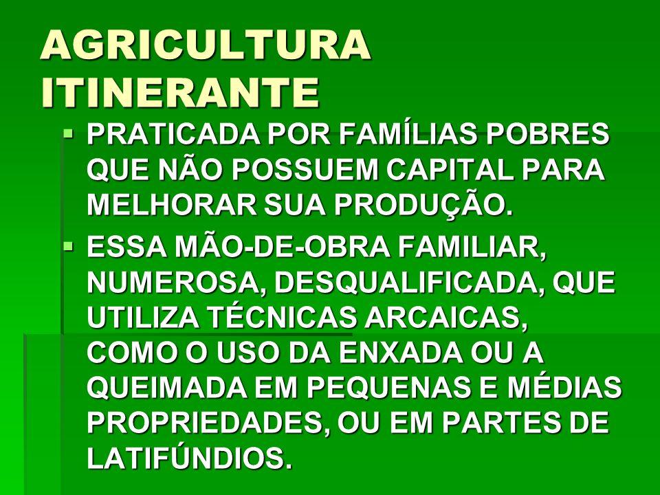 AGRICULTURA ITINERANTE PRATICADA POR FAMÍLIAS POBRES QUE NÃO POSSUEM CAPITAL PARA MELHORAR SUA PRODUÇÃO.