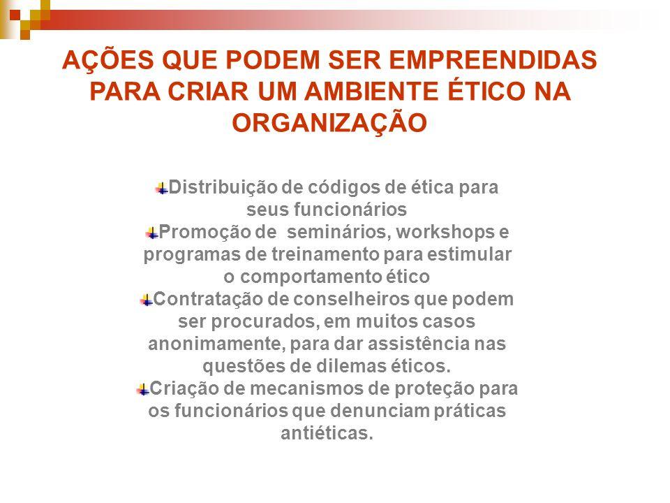 Distribuição de códigos de ética para seus funcionários Promoção de seminários, workshops e programas de treinamento para estimular o comportamento ét