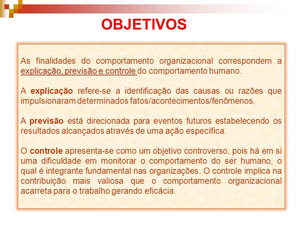 explicação, previsão e controle As finalidades do comportamento organizacional correspondem a explicação, previsão e controle do comportamento humano.