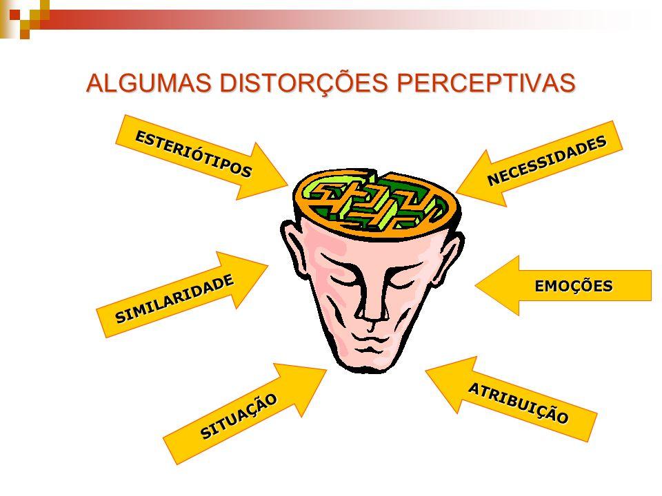 ALGUMAS DISTORÇÕES PERCEPTIVAS ESTERIÓTIPOS SIMILARIDADE SITUAÇÃO EMOÇÕES ATRIBUIÇÃO NECESSIDADES