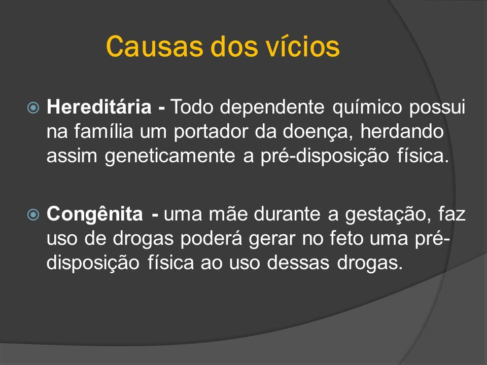 Causas dos vícios Hereditária - Todo dependente químico possui na família um portador da doença, herdando assim geneticamente a pré-disposição física.