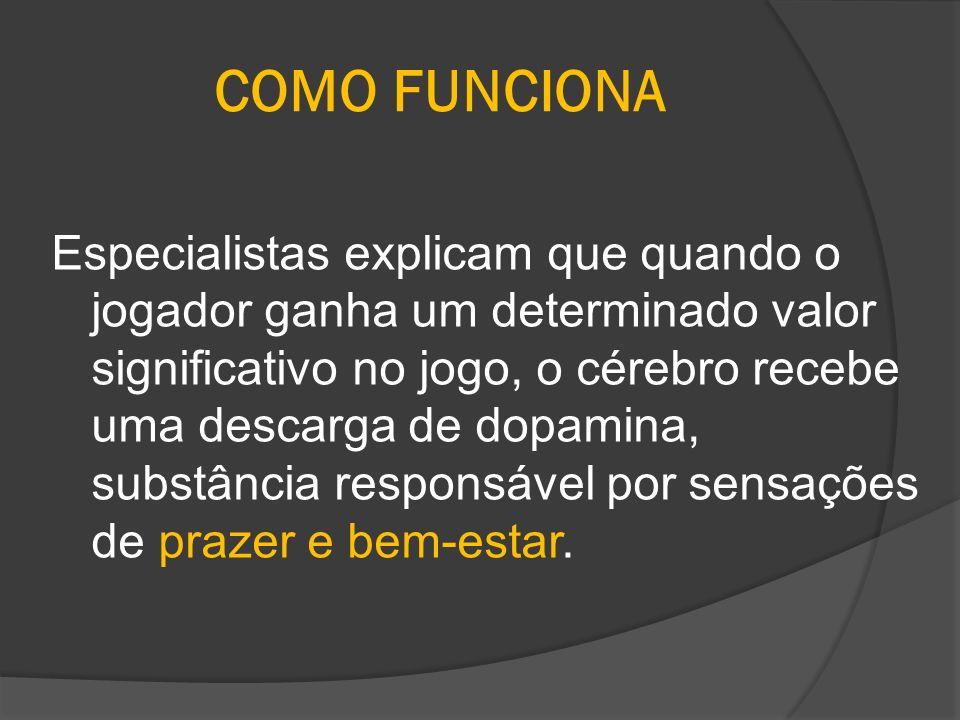 COMO FUNCIONA Especialistas explicam que quando o jogador ganha um determinado valor significativo no jogo, o cérebro recebe uma descarga de dopamina,