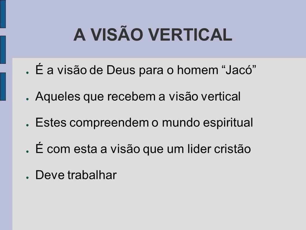 A VISÃO VERTICAL É a visão de Deus para o homem Jacó Aqueles que recebem a visão vertical Estes compreendem o mundo espiritual É com esta a visão que um lider cristão Deve trabalhar