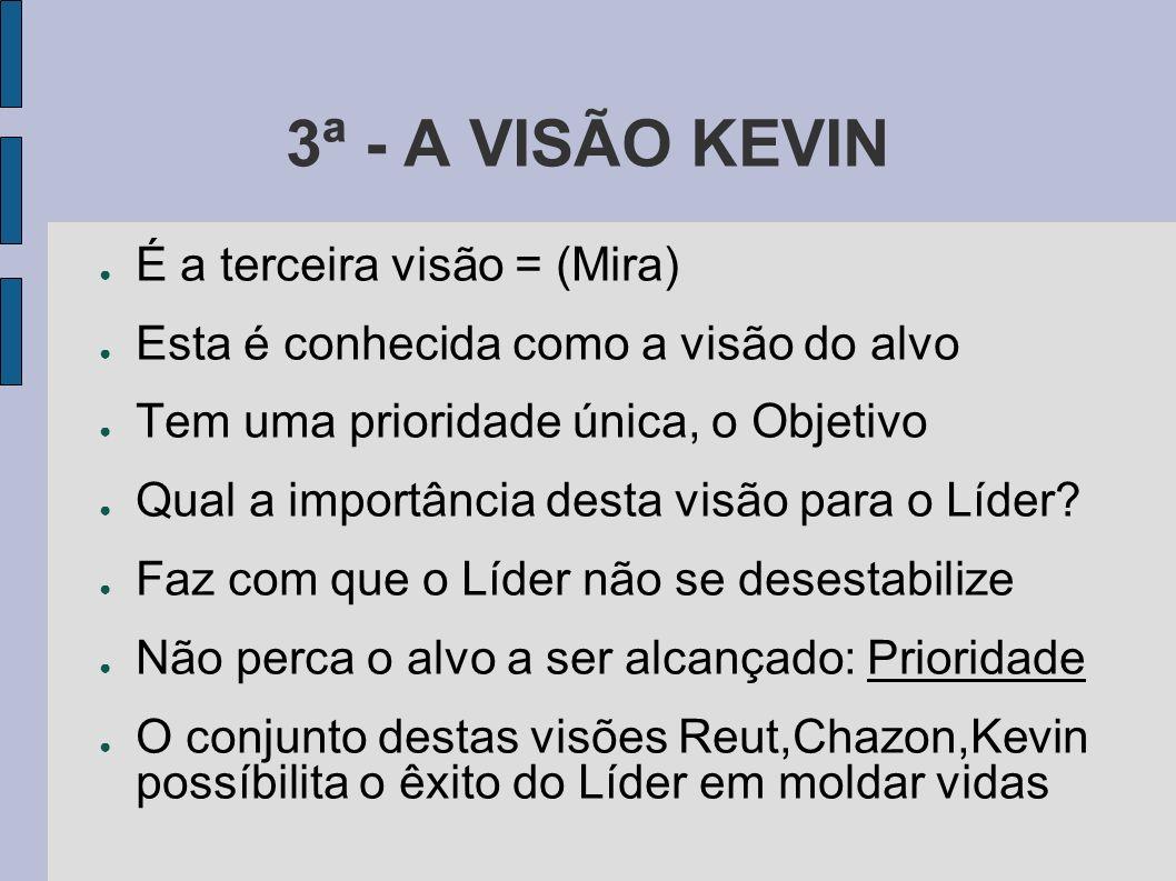 3ª - A VISÃO KEVIN É a terceira visão = (Mira) Esta é conhecida como a visão do alvo Tem uma prioridade única, o Objetivo Qual a importância desta visão para o Líder.
