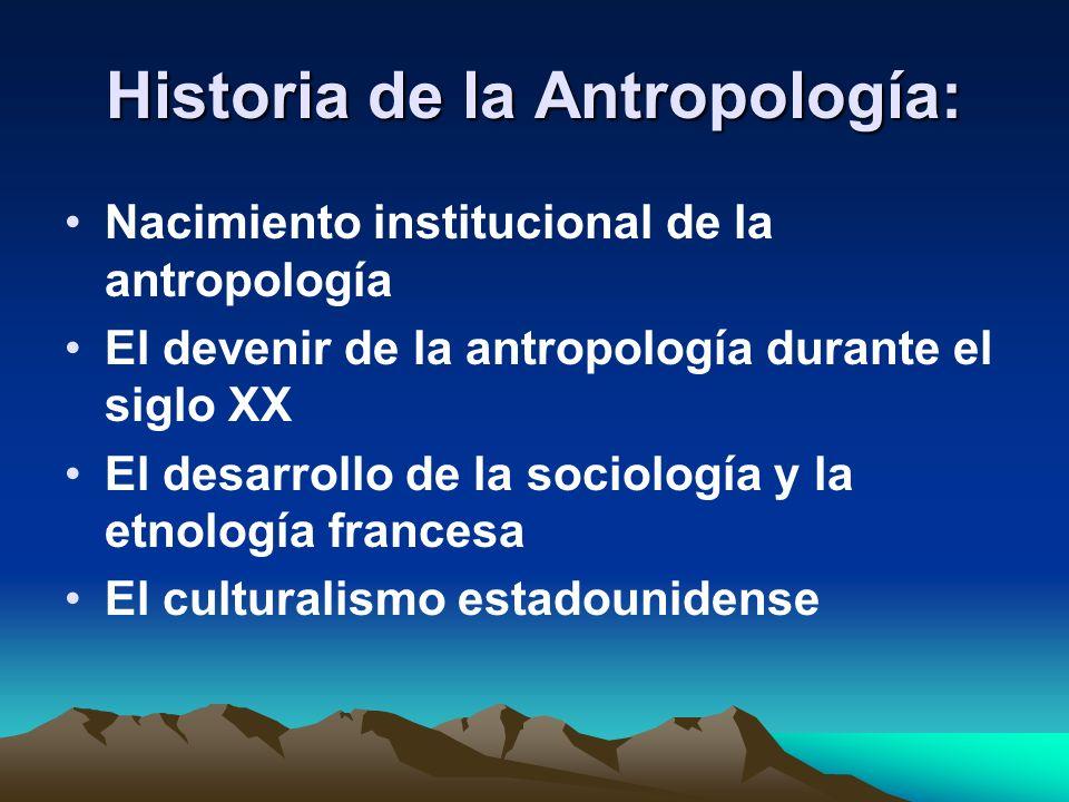 Historia de la Antropología: Nacimiento institucional de la antropología El devenir de la antropología durante el siglo XX El desarrollo de la sociolo