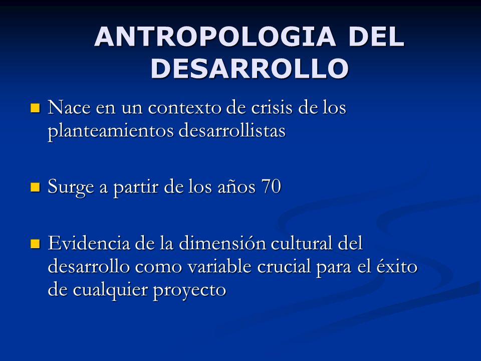 ANTROPOLOGIA DEL DESARROLLO Nace en un contexto de crisis de los planteamientos desarrollistas Nace en un contexto de crisis de los planteamientos des