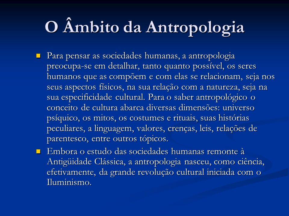 O Âmbito da Antropologia Para pensar as sociedades humanas, a antropologia preocupa-se em detalhar, tanto quanto possível, os seres humanos que as com